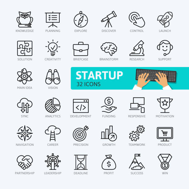 startup project and development - minimal outline icons collection. - в пути stock illustrations
