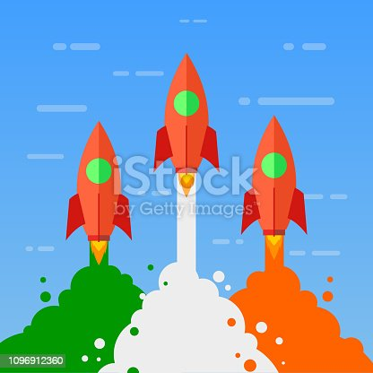 Startup, rocket concept, to the sky – stock vector