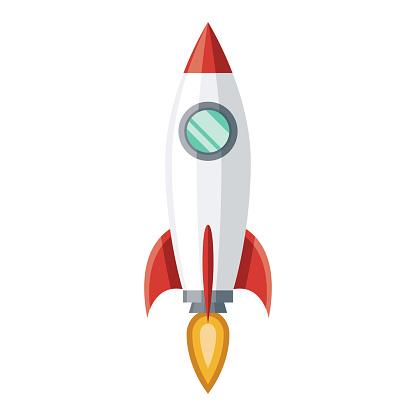 Startup Rocket Icon on Transparent Background