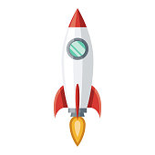 istock Startup Rocket Icon on Transparent Background 1283736705
