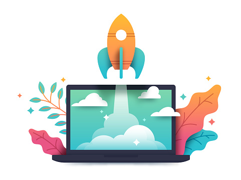 Rocket taking off from computer laptop with plant foliage startup and planning concept.