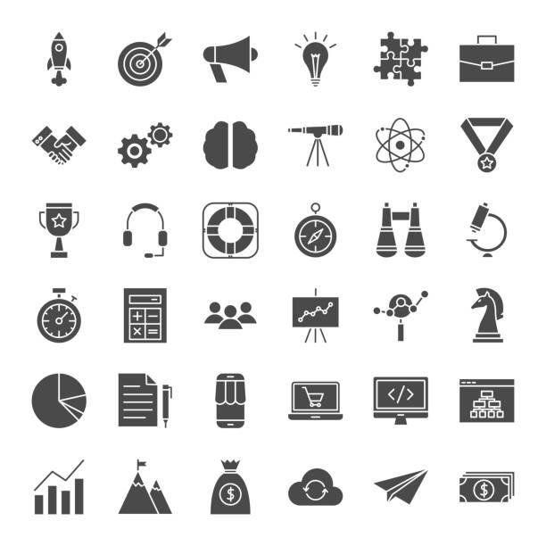 stockillustraties, clipart, cartoons en iconen met opstartpictogrammen vaste web - vaste stof