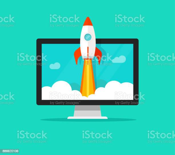 Startup vector concept flat cartoon quick rocket launch and computer vector id886620106?b=1&k=6&m=886620106&s=612x612&h=7evfk z noxovgqqi3lwhe9d7kqirzjk9s2ty7r du4=