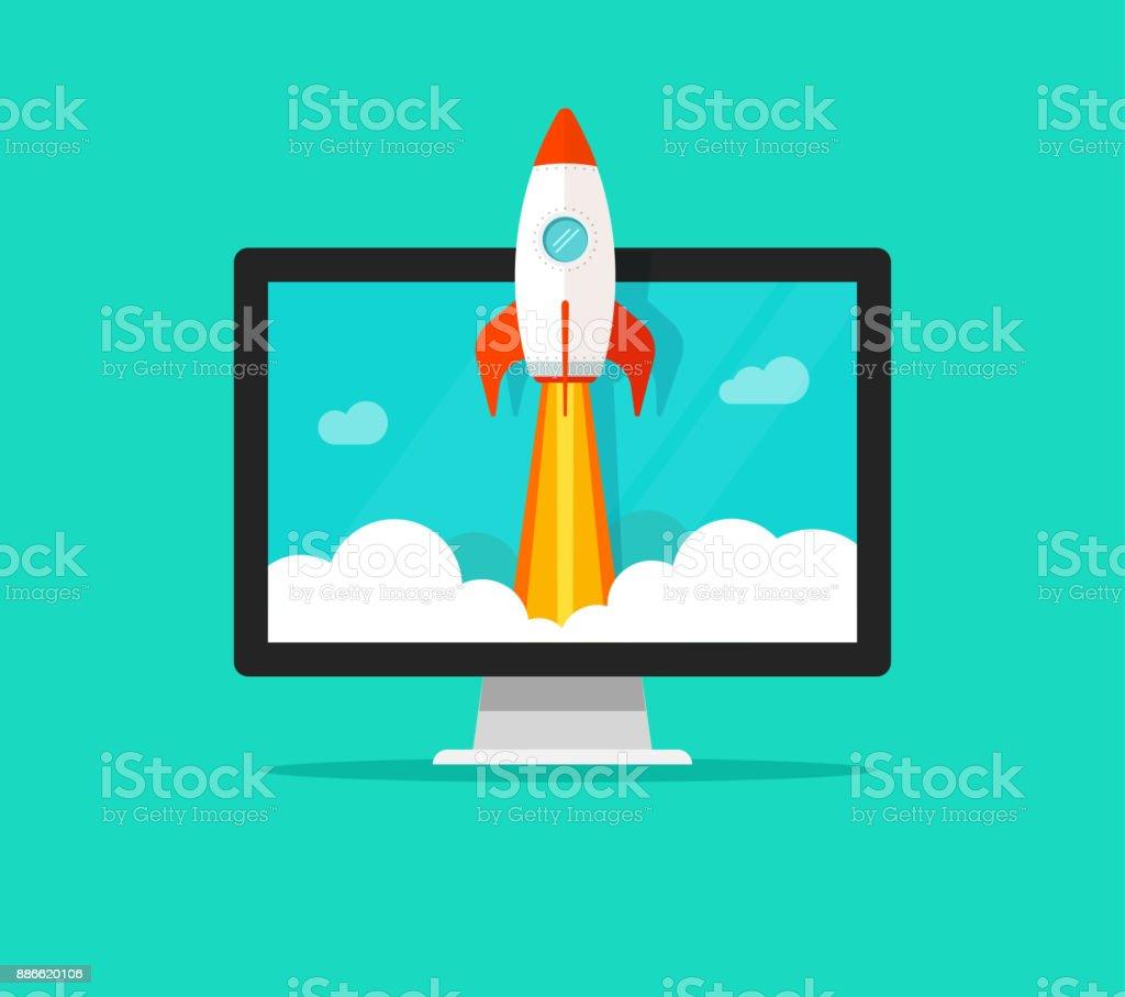 Start-up-Vektor-Konzept, flache Cartoon schnelle Rakete starten und Computer oder Desktop-pc, Idee erfolgreiches Projekt Start-up, Boost-Technologie, Innovationsstrategie – Vektorgrafik