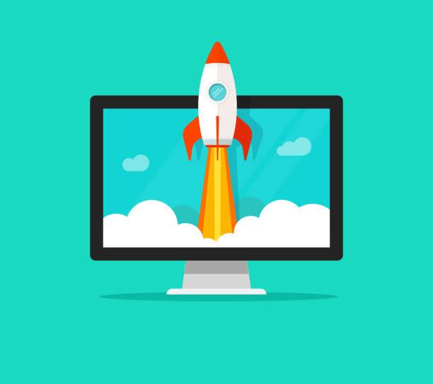 ilustrações, clipart, desenhos animados e ícones de conceito de vetor de inicialização, plana dos desenhos animados foguete rápido lançamento e computador ou desktop pc, ideia de projeto de negócio bem sucedido arranque, tecnologia boost, estratégia de inovação - foguete espacial