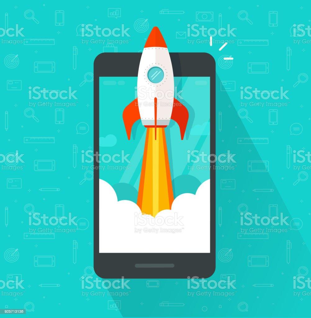 Start-up-Vektor-Konzept, flache Cartoon Rakete oder Rocketship starten, Handy oder Smartphone, Idee des erfolgreichen Projektstart-up, Boost-Technologie, Innovation Strategie release – Vektorgrafik