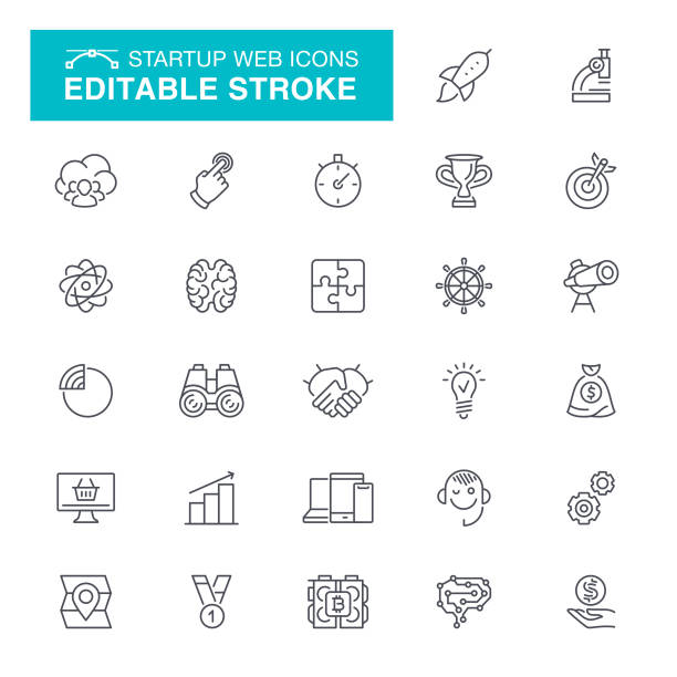 ilustrações, clipart, desenhos animados e ícones de ícones de inicialização web stroke editável - explorador