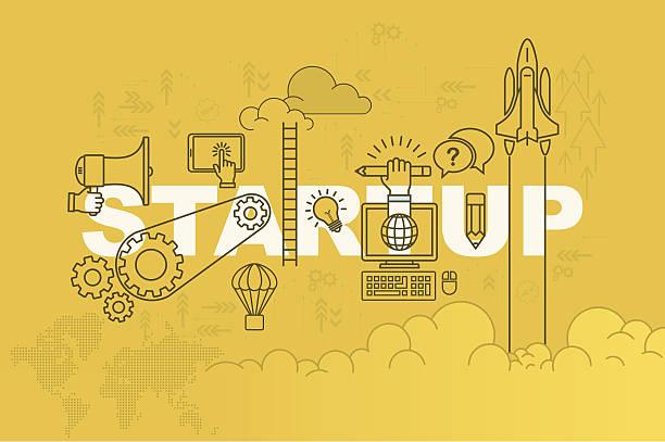 ilustrações, clipart, desenhos animados e ícones de conceito de banner de página web de inicialização com design plano de linha fina - startup