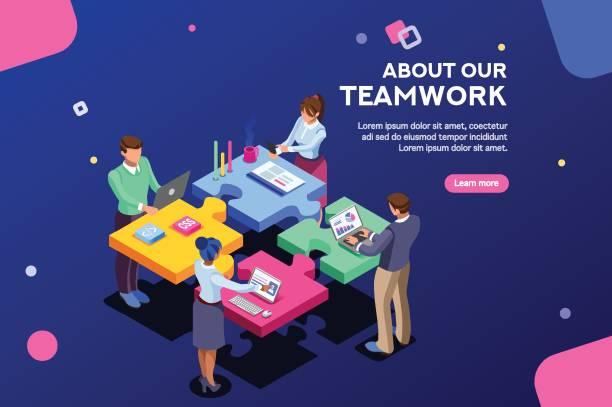 startbanner webseite vorlage - arbeitsvermittlung stock-grafiken, -clipart, -cartoons und -symbole