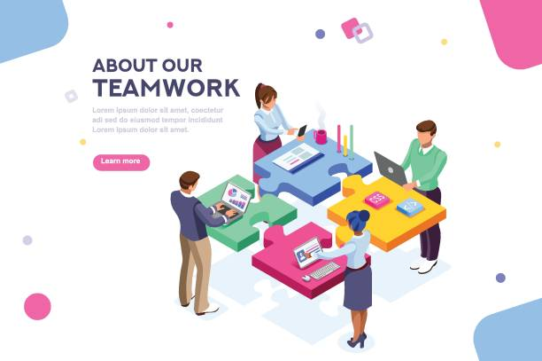 Startup Website Template Banner Startup employees. Goal thinking, infographic of puzzle. Cooperation construction by agency group to create a team. Concept for webdesign. White isolated concept with characters flat isometric Vector collaboration stock illustrations