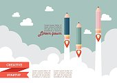 Startup with pencil rockets. Creative startup concept