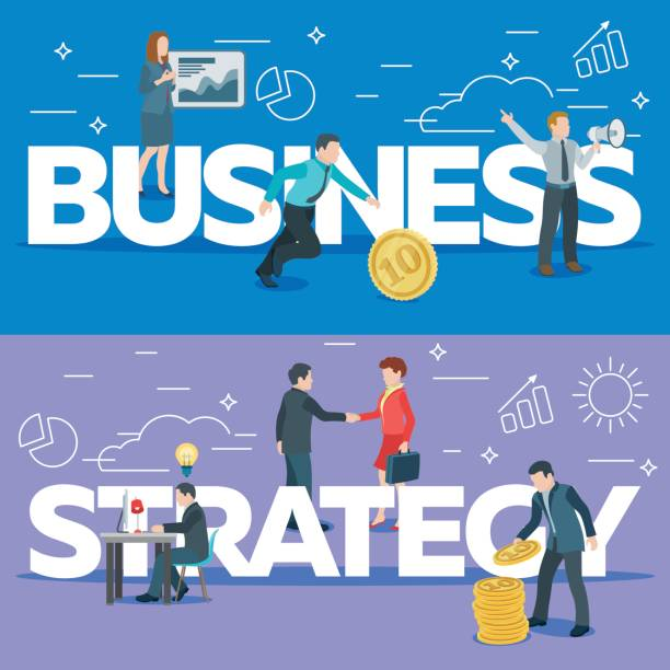 Startup work moments. The presentation, search for investor, promotion. The woman at the blackboard with infographics, man and money, a man with a loudspeaker. vector art illustration