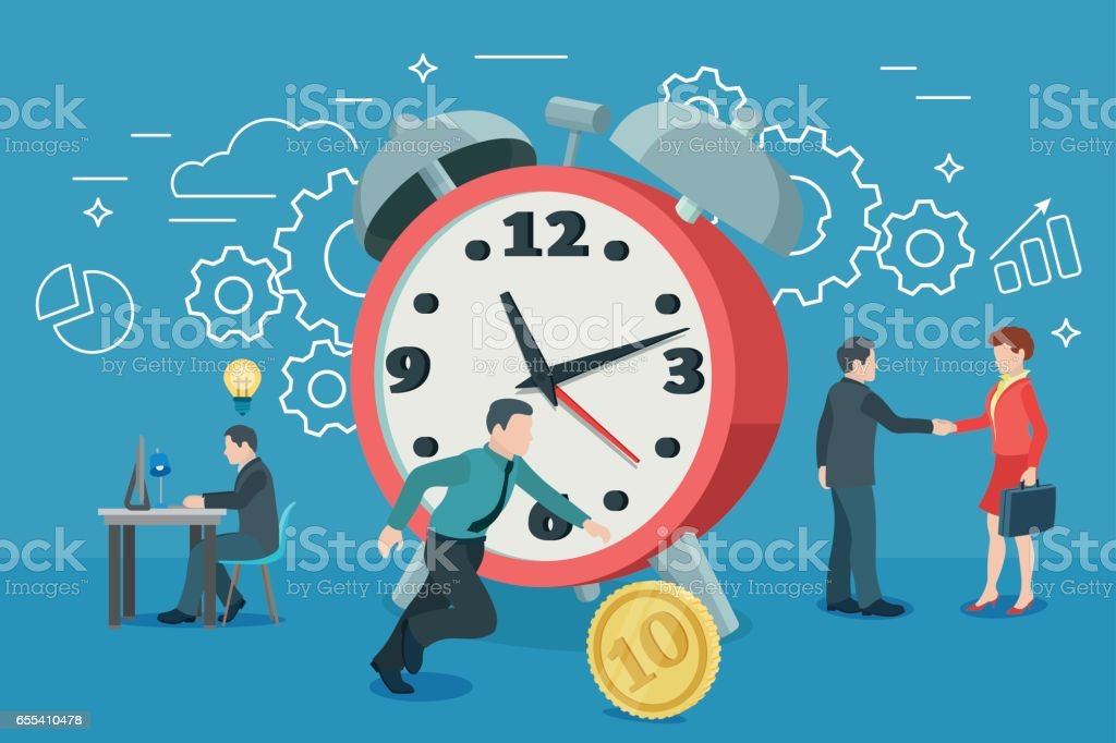 Startup work moments. The presentation, search for investor, promotion. Man running for the coin. vector art illustration