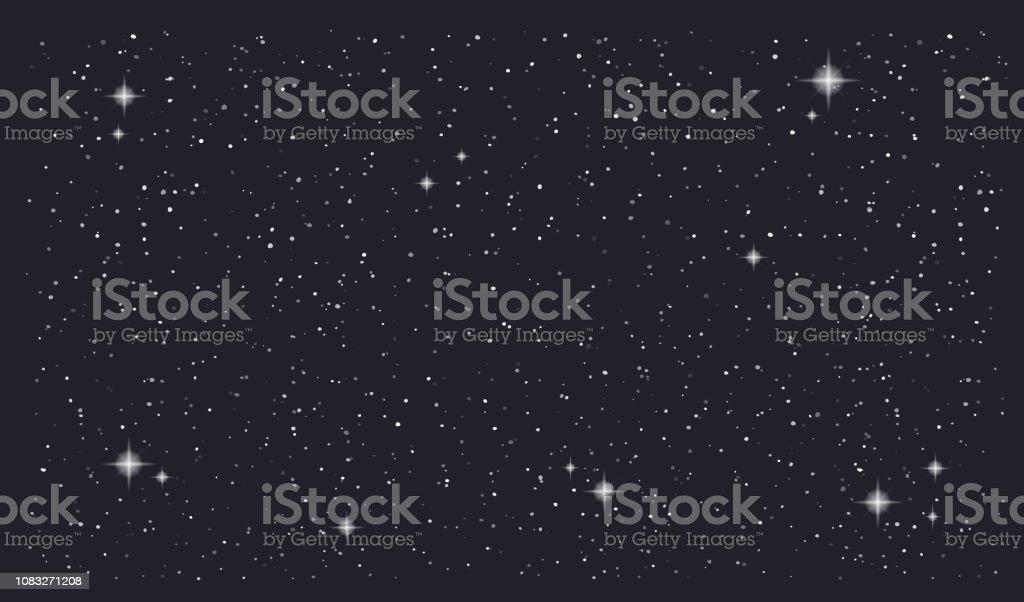 Stary night sky horizontal vector background - Векторная графика Абстрактный роялти-фри