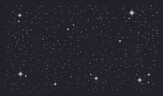 Stary night sky horizontal vector background clipart