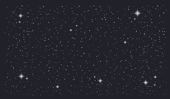 Stary Night Sky Horizontal Vector Background — стоковая векторная графика и другие изображения на тему Абстрактный