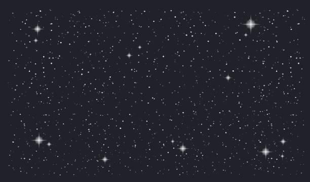 stary nacht himmel horizontale vektor hintergrund - himmel stock-grafiken, -clipart, -cartoons und -symbole