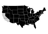 State California on USA territory map. White background. Vector illustration