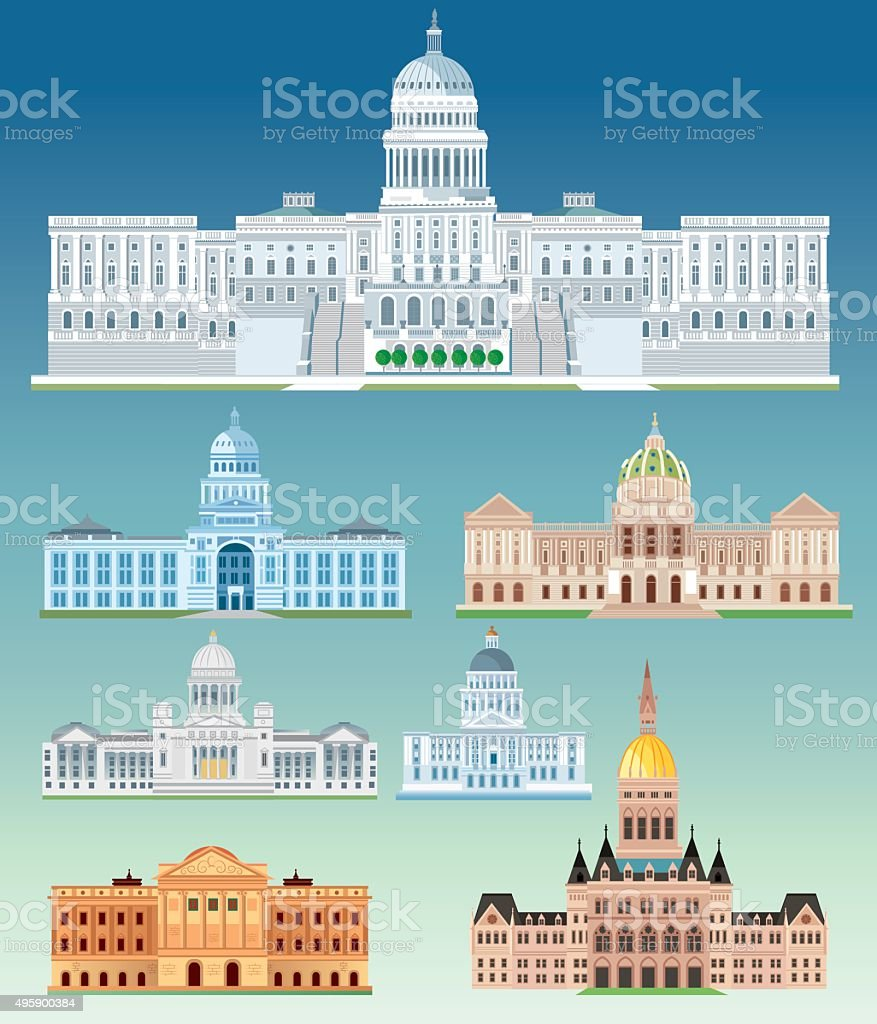 State Capitol Building vector art illustration