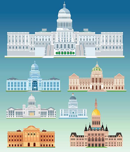 ilustrações, clipart, desenhos animados e ícones de state capitol building - capitel