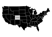State Colorado on USA territory map. White background. Vector illustration