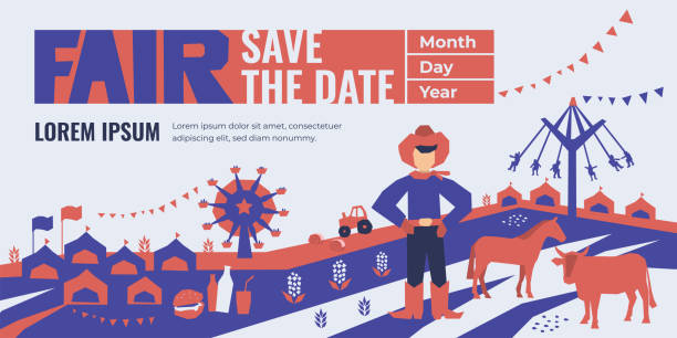 State Fair Illustration Vector detail illustration of State Fair. Event poster with food market, ferris wheel, farm animals, country fair. Design template for invitation, landing page, banner, print, flyer. Save the date. agricultural fair stock illustrations