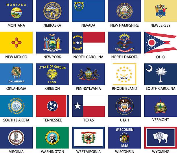 ilustrações, clipart, desenhos animados e ícones de estado flags - bandeira dos estados unidos