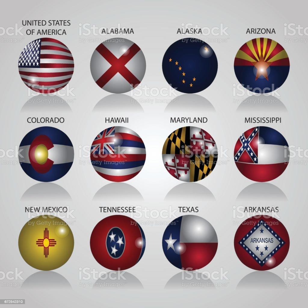 Sinalizadores de Estado EUA ilustração vetorial - ilustração de arte em vetor