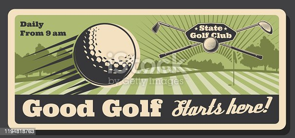 Golf club tournament and sport training course retro vintage poster. Vector professional golf championship field, golf ball and stick with hole flag on putter, golfer tournament and premium state club