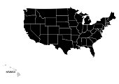 State Hawaii on USA territory map. White background. Vector illustration