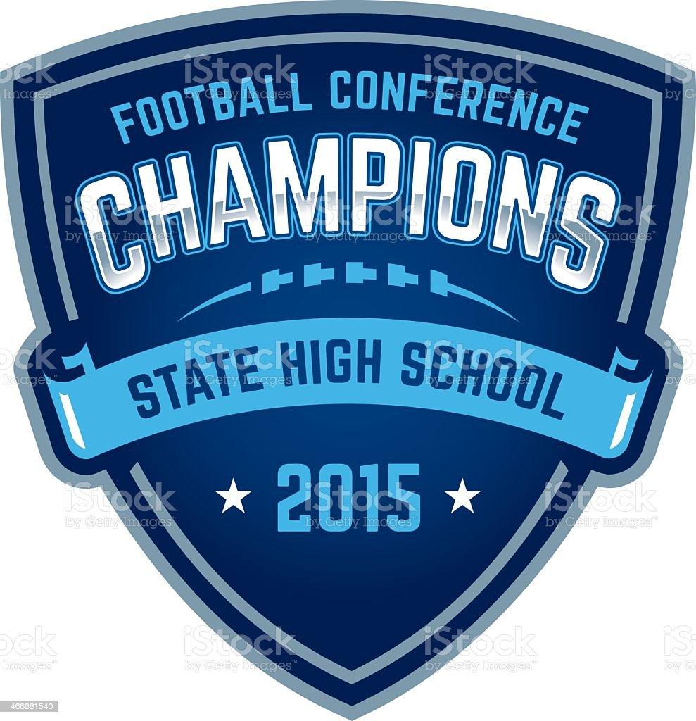 State high school football championship badge vector art illustration