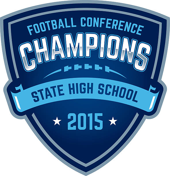 State high school football championship badge vector art illustration