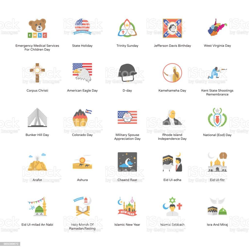 State Holiday Icon Pack state holiday icon pack - stockowe grafiki wektorowe i więcej obrazów armia royalty-free