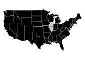 State Illinois on USA territory map. White background. Vector illustration