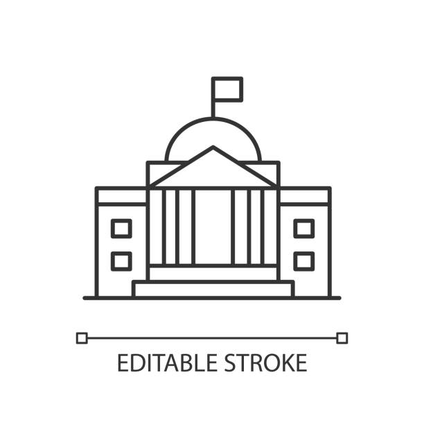 State institution pixel perfect linear icon State institution pixel perfect linear icon. Supreme court building entrance. National museum. Thin line customizable illustration. Contour symbol. Vector isolated outline drawing. Editable stroke supreme court stock illustrations