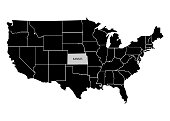 State Kansas on USA territory map. White background. Vector illustration