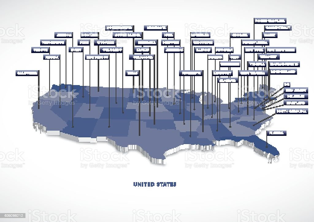 3D USA State map vector art illustration