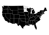 State Minnesota on USA territory map. White background. Vector illustration
