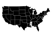 State Mississippi on USA territory map. White background. Vector illustration