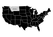 State Montana on USA territory map. White background. Vector illustration