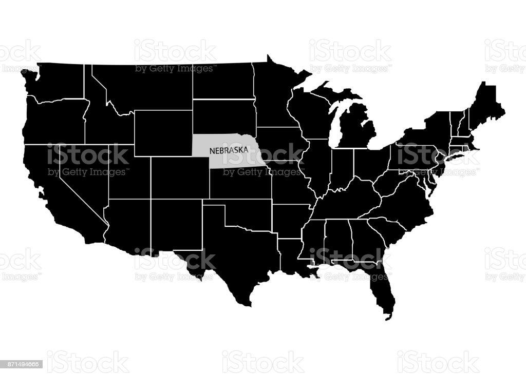State Nebraska On Usa Territory Map White Background Vector - Nebraska on us map
