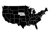 State Nebraska on USA territory map. White background. Vector illustration