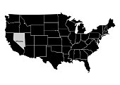 State Nevada on USA territory map. White background. Vector illustration