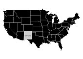 State New Mexico on USA territory map. White background. Vector illustration