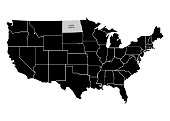 State North Dakota on USA territory map. White background. Vector illustration