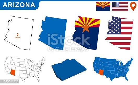 istock USA state Of Arizona's map and Flag. 1323011625
