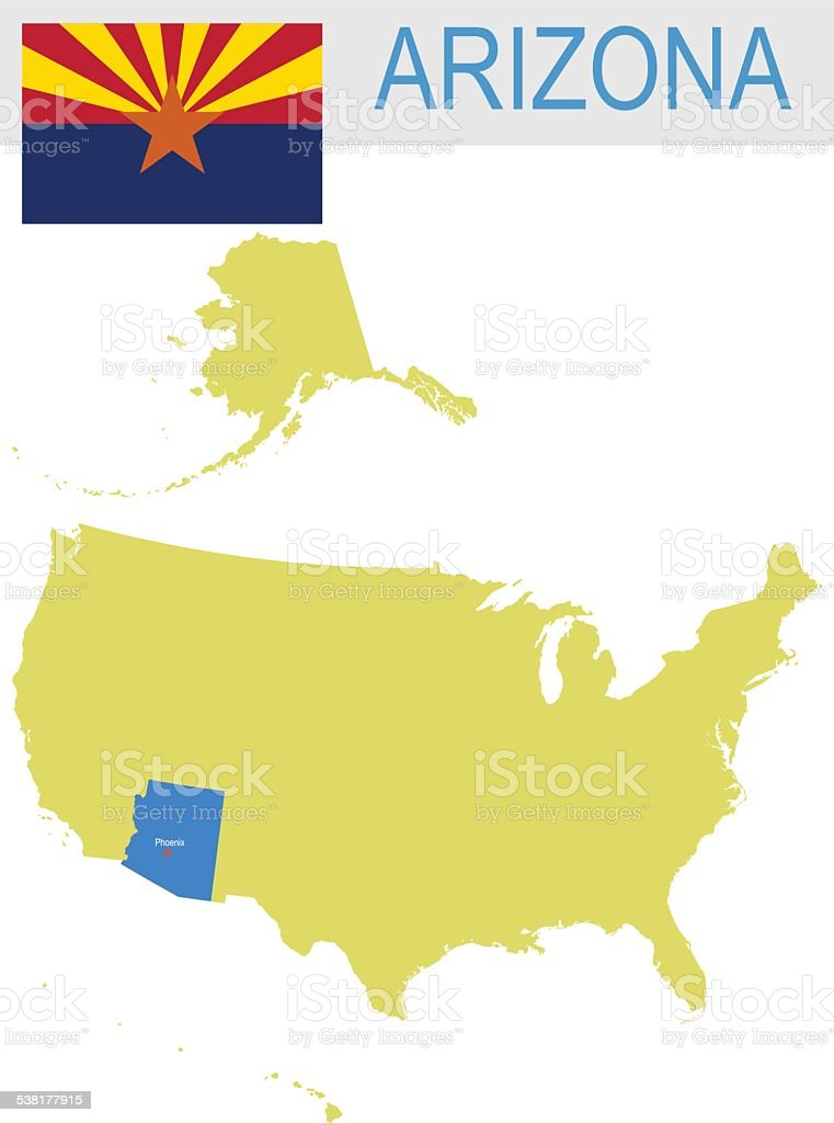 USA state Of Arizona's map and Flag vector art illustration