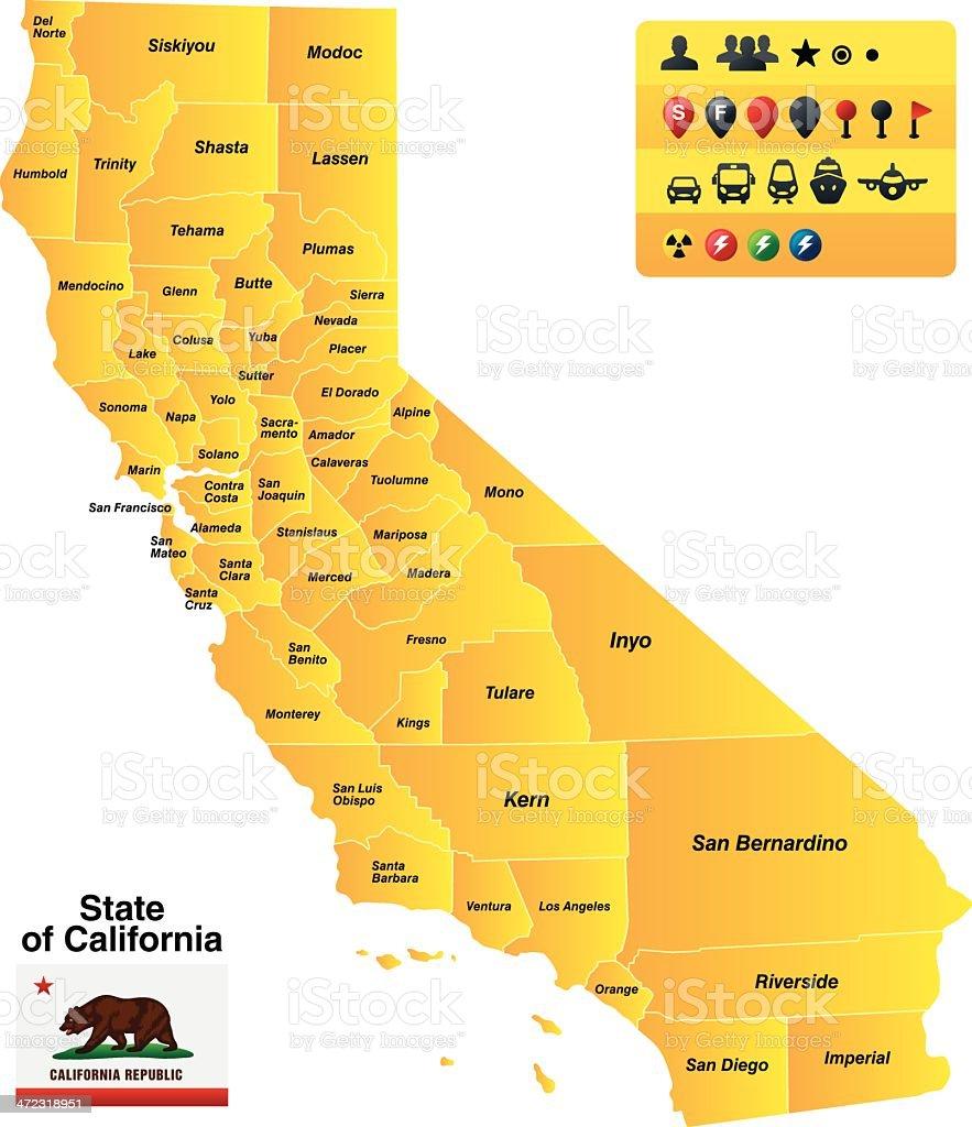 State of California vector art illustration