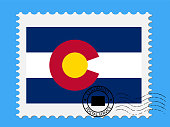 U.S. state of Colorado Flag with Postage Stamp Vector illustration Eps 10