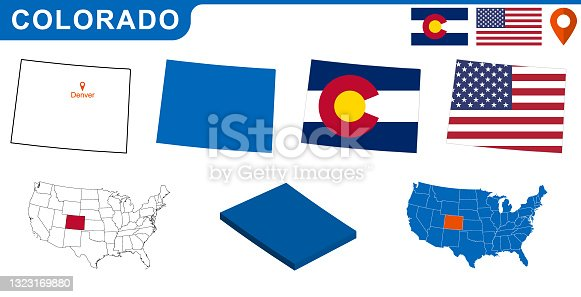 istock USA state Of Colorado's map and Flag. 1323169880